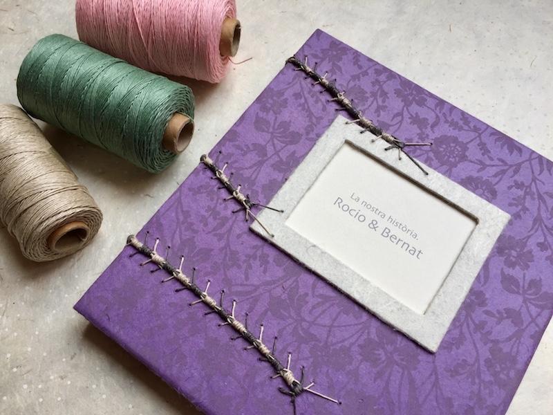 Libro de firmas para boda con cosido en oruga